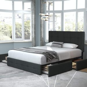 Allewie Queen Platform Bed Frame with 4 Drawers and Headboard