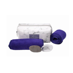 Wonder Towel White Marble Cosmetic Bag Collection - Purple
