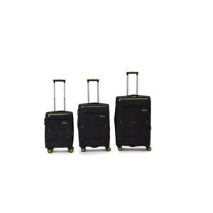 Hazlo 3 Piece Nylon Trolley Luggage Bag Set - Black & Green