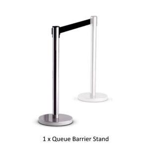 Retractable queue barrier chrome with black belt