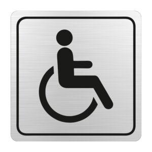 Sign Symbolic Black Printed Disabled Toilet Sign on Brushed Alluminium ACP