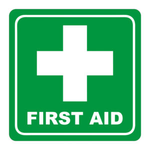 Green First Aid Symbolic Sign on White ACP