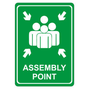 Green Assembly Point Symbolic Sign on White ACP