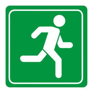 Green Man Running Symbolic Sign on White ACP