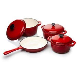 Cast Iron Enamel Pot Set 7 Piece Red