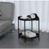 2 Tier Metal Round Side Coffee Sofa End Table
