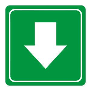 Green Arrow Symbolic Sign on White ACP