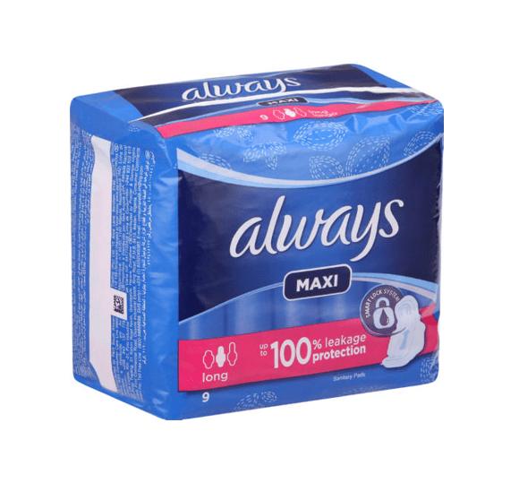 Always Sanitary Pads Maxi Super 9's