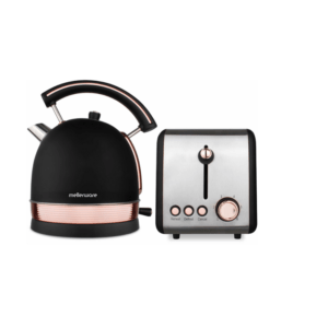 """Mellerware 2 Piece Set Stainless Steel Black Kettle And Toaster """"Rose Gold"""""""