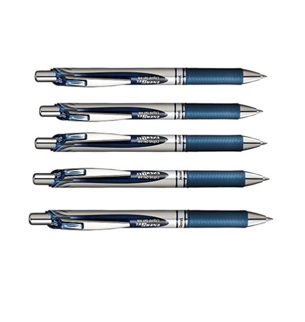 Energel Metal Tip Refillable & Retractable Pen x5