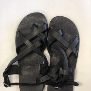 Shilongo Leather Come To Jesus Sandals Black