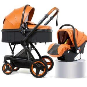 Belecoo 3 in 1 Baby Stroller Pram, Car Seat - Brown