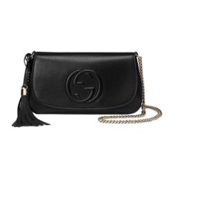 Black Gucci Soho Leather Flap Shoulder Bag