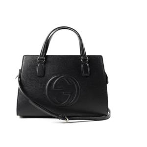 Gucci Soho Leather Satchel tote Structured Black Shoulder Bag