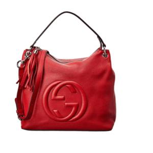 Gucci Soho Flame Red Leather Bag Soft Hobo Handbag