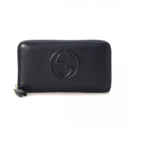 Black Gucci Soho Mini Round Light Gold Disco Wallet
