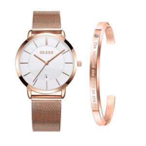 OLEVS Womens Minimalist Watch Set with Bracelet - Rose Gold