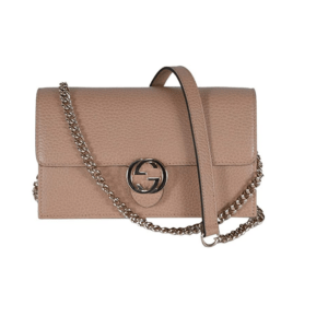 Gucci Interlocking Camelia Wallet Chain Marmont Leather Handbag
