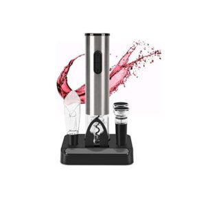 All-in-One Electric Wine Opener Gift Set: Multifunctional wine opener gift set with stand including foil cutter, wine stoppers and aerator & pourer, provides a one-stop solution for wine opening, pouring, and preserving. Easy to Use: Simple push button operation easily remove corks in seconds. Foil cutter included removing seals easily, then just place the opener on top of your wine bottle, press the button, and your wine is open and ready to serve. Corks can also be easily removed from the corkscrew by simply press the button in seconds. Ingenious Design: Sleek stainless steel surface provide a smooth hand feeling, Unique transparent shell surrounding makes the entire cork removal process visible, the aerator help enhance the flavor of wine, while simultaneously preventing spills, and the vacuum stopper keep your wine tastes fresh up to 7 days. Portable and Durable: Small size bottle opener measures 9 inches high and 1.8 inches wide. Small enough to store next to your storage rack or fridge when not in use. Weight 240g convenient to take it out when needed Perfect Gift for Any Occasion: Our wine opener set with smooth touching and elegant silver color can be used at any occasions like party, restaurant, bar, and catering .It is also a great energy saving gift for any wine lover.